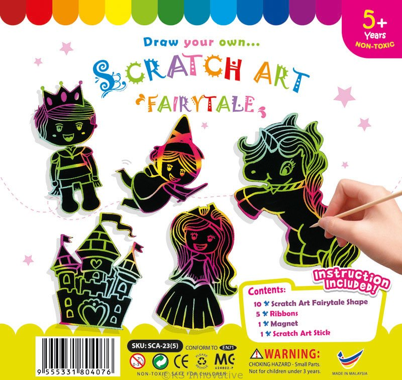 Star Scratch Art Magnets Pack of 10